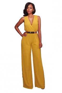 Women Sexy Deep V High Waist Sleeveless Wide Legs Jumpsuit Yellow