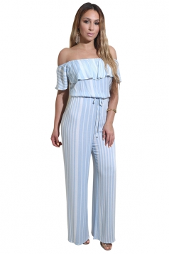 Women Sexy Off Shoulder Ruffled Stripes Wide Legs Jumpsuit Light Blue