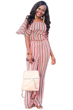 Women Sexy Off Shoulder Ruffled Stripes Wide Legs Jumpsuit Pink