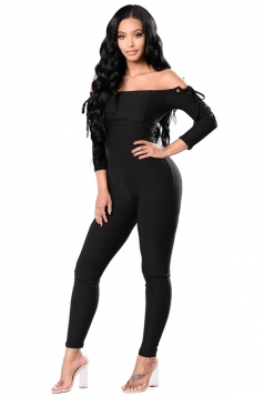 Women Sexy Off Shoulder Eyelet Lace Up Skinny Jumpsuit Black