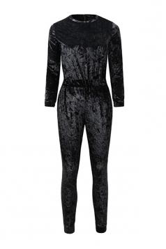 Women Skinny Velvet Long Sleeve Plain Jumpsuit Black