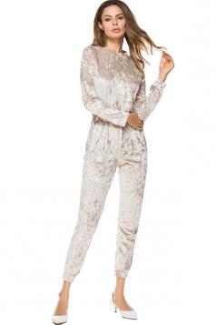 Women Skinny Velvet Long Sleeve Plain Jumpsuit Khaki