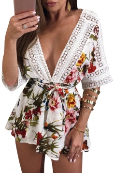 Women Sexy Both Deep V Lace Floral Printed Belt Romper White
