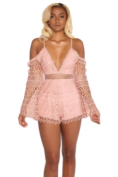 Sexy Eyelet Deep V Lace Spaghetti Straps Hollow Out Romper Pink