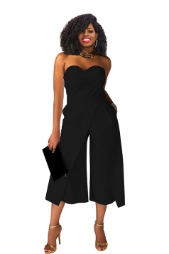 Sexy Strapless High Waist Wide Legs Jumpsuit Black