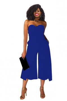 Sexy Strapless High Waist Wide Legs Jumpsuit Sapphire Blue