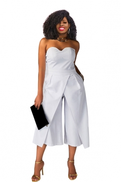 Sexy Strapless High Waist Wide Legs Jumpsuit White