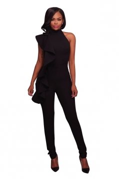 Women Sexy High Waist Sleeveless Ruffled Plain Jumpsuit Black