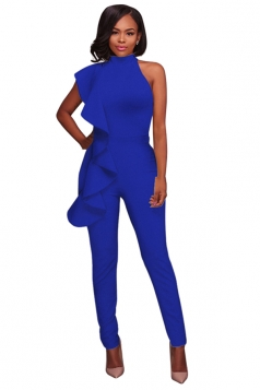 Women Sexy High Waist Sleeveless Ruffled Plain Jumpsuit Sapphire Blue