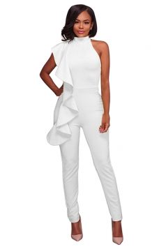 Women Sexy High Waist Sleeveless Ruffled Plain Jumpsuit White