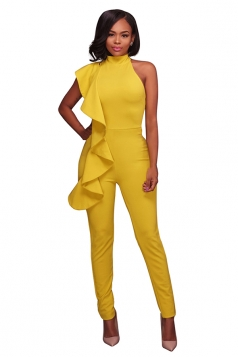 Women Sexy High Waist Sleeveless Ruffled Plain Jumpsuit Yellow