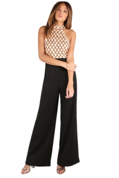 Sexy Wide Leg Sequins Color Block Patchwork Jumpsuit Apricot