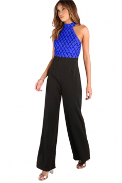 Sexy Wide Leg Sequins Color Block Patchwork Jumpsuit Sapphire Blue