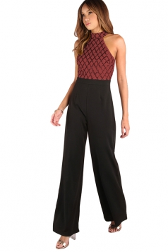 Sexy Wide Leg Sequins Color Block Patchwork Jumpsuit Ruby