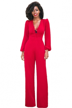 Women Vintage Deep V Lace Up High Waist Wide Legs Jumpsuit Red