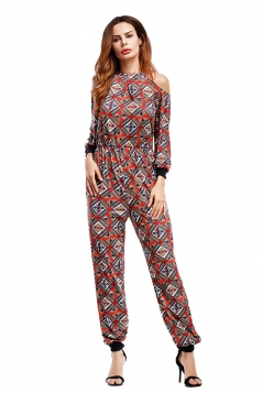 Sexy Deep V Cold Shoulder Geometric Printed Long Sleeve Jumpsuit Coffee