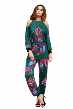 Sexy Deep V Cold Shoulder Geometric Printed Long Sleeve Jumpsuit Green