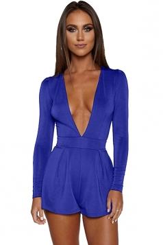 Womens Sexy Deep V-Neck Long Sleeve Back Zipper Romper Sapphire Blue