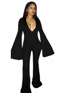 Womens Sexy Deep V-Neck Bell Sleeve Clubwear Long Jumpsuit Black