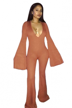 Womens Sexy Deep V-Neck Bell Sleeve Clubwear Long Jumpsuit Brown