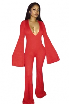 Womens Sexy Deep V-Neck Bell Sleeve Clubwear Long Jumpsuit Red