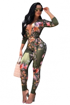 Womens Sexy Deep V-Neck Floral Printed Lace Up Long Jumpsuit Green