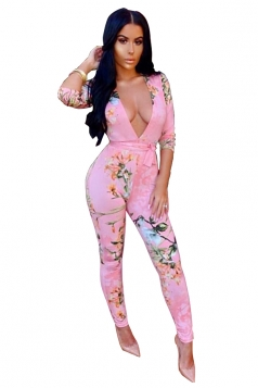 Womens Sexy Deep V-Neck Floral Printed Lace Up Long Jumpsuit Pink