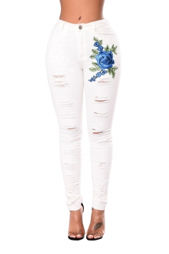 Women Ripped Flower Embroidered Skinny Jeans White