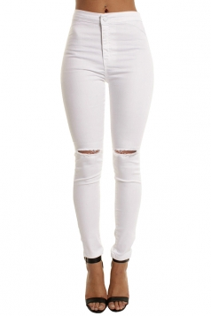 Women Elastic Ripped Plain Skinny Jeans White