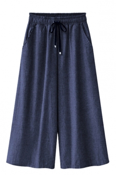 Women Loose Elastic Waist Wide Legs Denim Pants Blue
