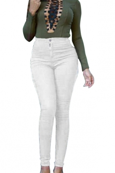 Women High Waist Plain Skinny Jeans White