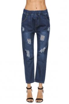 Womens Fashion Elastic Waist Ripped Long Jeans Blue