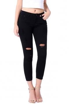 Womens Fashion Elastic Ripped Skinny High Waist Jeans Black