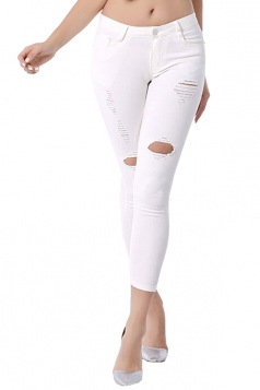 Womens Fashion Elastic Ripped Skinny High Waist Jeans White