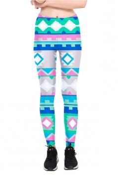 Geometric Printed High Waist Sports Wear Leggings Light Blue