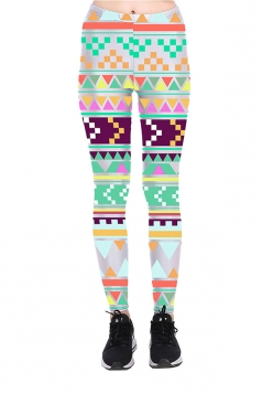 Geometric Printed High Waist Sports Wear Leggings Light Green