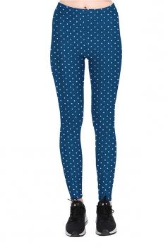 White Polka Dot Printed High Waist Sports Wear Leggings Navy Blue