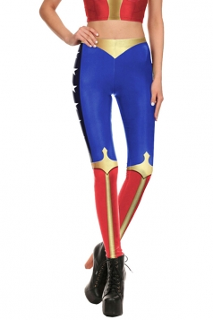 Wonder Woman Halloween Costume Leggings Blue