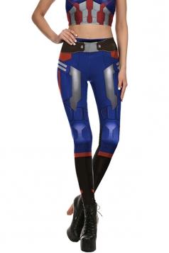 Captain America Halloween Costume Leggings Navy Blue