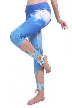 Women White Cloud Printed Cross Bandage Active Wear Leggings Blue