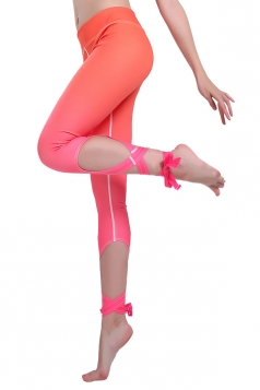 Women Gradient Color Cross Bandage Active Wear Leggings Orange Red