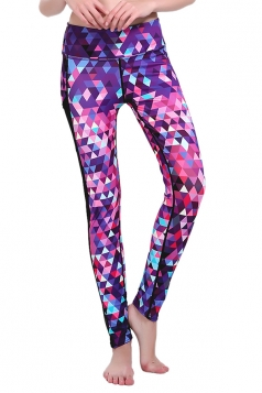 Women Printed Mesh Patchwork Yoga Sports Wear Leggings Rose Red