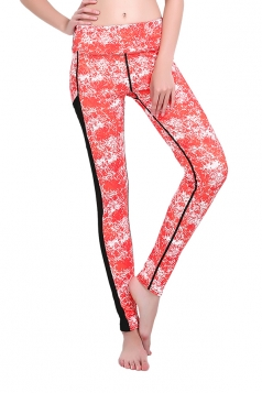 Women Printed Mesh Patchwork Yoga Sports Wear Leggings Red