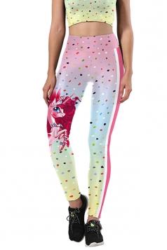 Women Skinny Fitness Halloween Unicorn Printed Leggings Light Pink