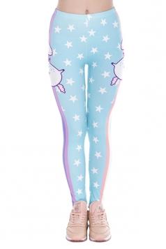 Women Skinny Fitness Halloween Unicorn Printed Leggings Blue