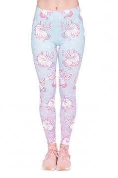 Women Skinny Fitness Halloween Unicorn Printed Leggings Beige White