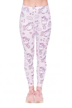 Women Skinny Fitness Halloween Unicorn Printed Leggings Pink