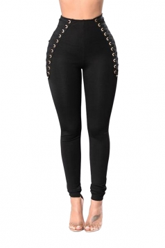 Women Eyelet Cross Lace Up High Waist Skinny Leisure Pants Black