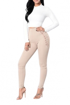Women Eyelet Cross Lace Up High Waist Skinny Leisure Pants Khaki