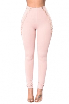 Women Eyelet Cross Lace Up High Waist Skinny Leisure Pants Pink